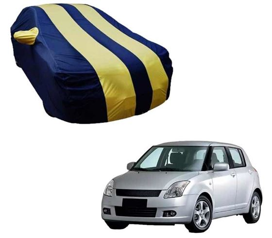 Picture of Stylish Yellow Stripe Car Body Cover For Maruti Swift - Arc Blue
