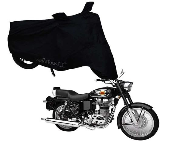 Picture of Black Two Wheeler Cover For Royal Enfield Bullet 500