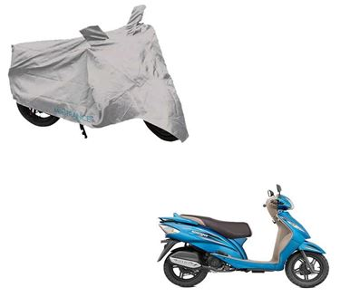 Picture of Silver Two Wheeler Cover For TVS Wego