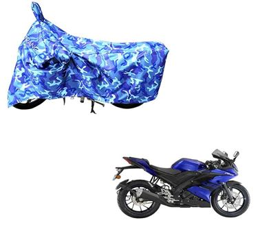 Picture of Jungle Blue 100% Waterpoof Camouflage Army Military style With Mirror Pocket Two Wheeler Cover For Yamaha YZF R15