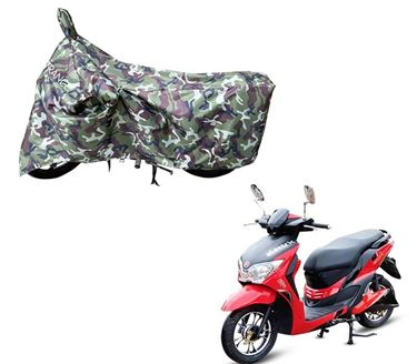 Picture of Jungle Green 100% Waterpoof Camouflage Army Military style With Mirror Pocket Two Wheeler Cover For Hero Electric Dash 2019