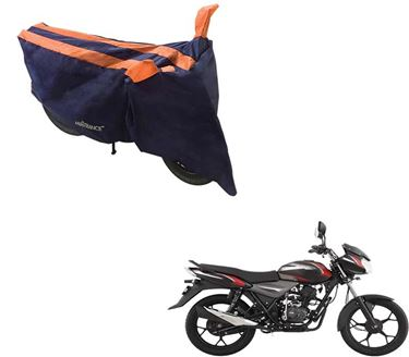 Picture of Sporty Arc Blue Orange Two Wheeler Cover For Bajaj Discover 135