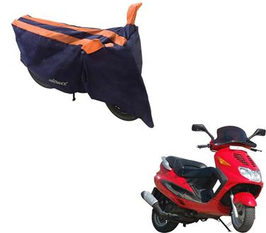 Picture of Sporty Arc Blue Orange Two Wheeler Cover For Kinetic Blaze