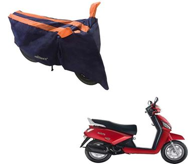 Picture of Sporty Arc Blue Orange Two Wheeler Cover For Mahindra Gusto