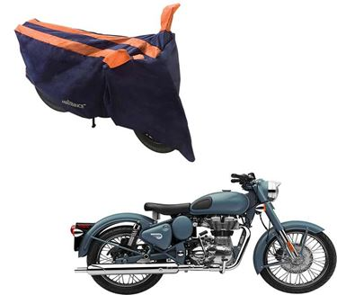 Picture of Sporty Arc Blue Orange Two Wheeler Cover For Royal Enfield Squadron Blue