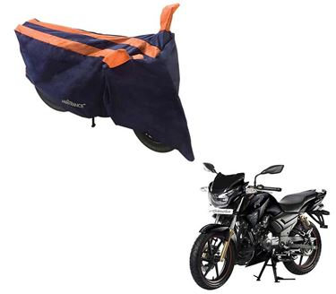 Picture of Sporty Arc Blue Orange Two Wheeler Cover For TVS Apache RTR 180
