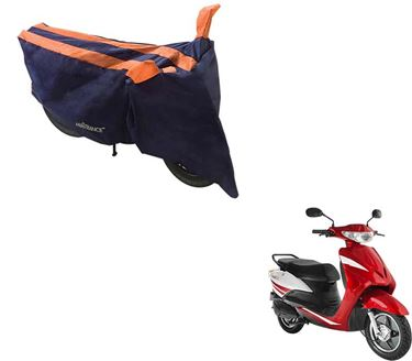 Picture of Sporty Arc Blue Orange Two Wheeler Cover For Yo Xplor
