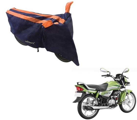 Picture of Sporty Arc Blue Orange Two Wheeler Cover For Hero HF Deluxe Eco