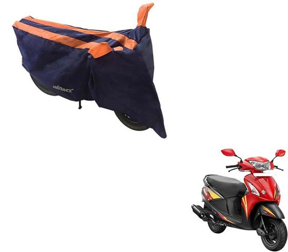 Picture of Sporty Arc Blue Orange Two Wheeler Cover For Hero Pleasure
