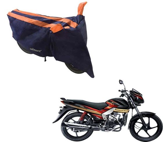 Picture of Sporty Arc Blue Orange Two Wheeler Cover For Mahindra Centuro Rockstar