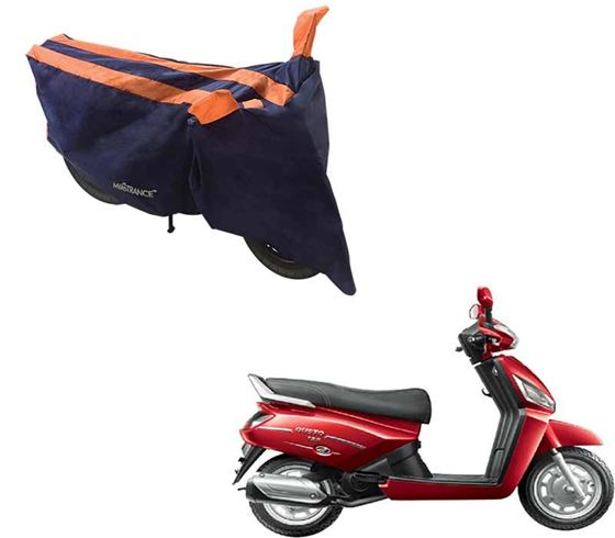 Picture of Sporty Arc Blue Orange Two Wheeler Cover For Mahindra Gusto 125