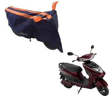 Picture of Sporty Arc Blue Orange Two Wheeler Cover For Okinawa Ridge
