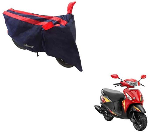 Picture of Sporty Arc Blue Red Two Wheeler Cover For Hero Pleasure