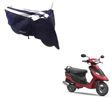 Picture of Sporty Arc Blue White Two Wheeler Cover For TVS Scooty Pep Plus
