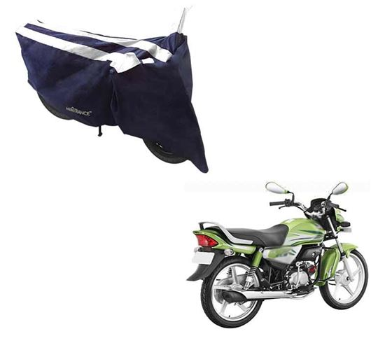 Picture of Sporty Arc Blue White Two Wheeler Cover For Hero HF Deluxe Eco