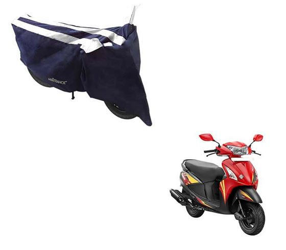 Picture of Sporty Arc Blue White Two Wheeler Cover For Hero Pleasure