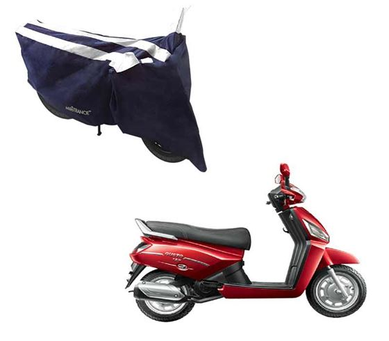 Picture of Sporty Arc Blue White Two Wheeler Cover For Mahindra Gusto 125