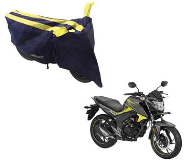 Picture of Sporty Arc Blue Yellow Two Wheeler Cover For Honda CB Hornet 160R