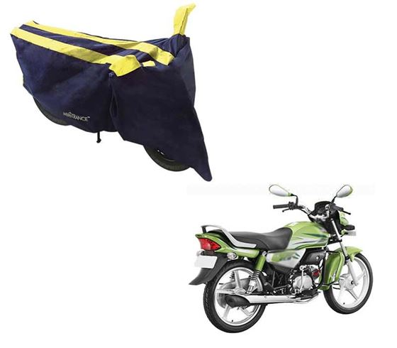 Picture of Sporty Arc Blue Yellow Two Wheeler Cover For Hero HF Deluxe Eco