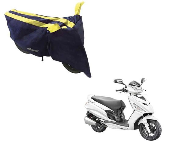 Picture of Sporty Arc Blue Yellow Two Wheeler Cover For Hero Maestro Edge