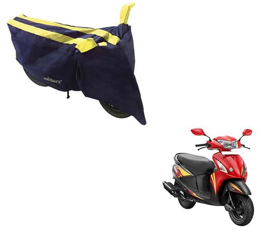 Picture of Sporty Arc Blue Yellow Two Wheeler Cover For Hero Pleasure