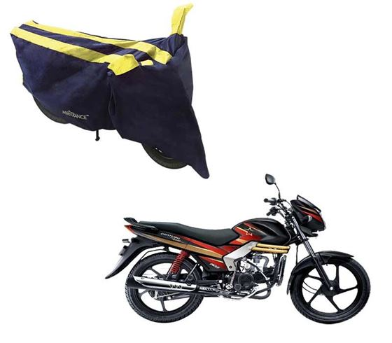 Picture of Sporty Arc Blue Yellow Two Wheeler Cover For Mahindra Centuro Rockstar