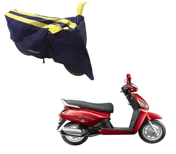 Picture of Sporty Arc Blue Yellow Two Wheeler Cover For Mahindra Gusto 125