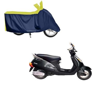 Picture of Sporty Yellow Blue Two Wheeler Cover For Kinetic Nova EX