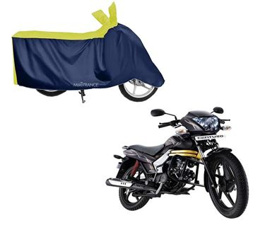 Picture of Sporty Yellow Blue Two Wheeler Cover For Mahindra Centuro