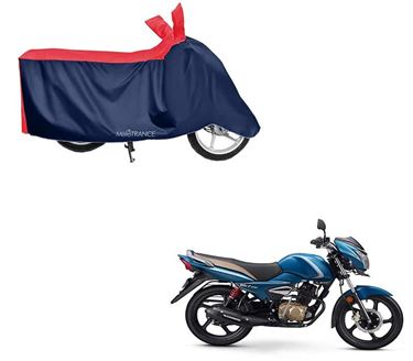 Picture of Sporty Red Blue Two Wheeler Cover For TVS Victor