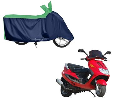 Picture of Sporty Green Blue Two Wheeler Cover For Kinetic Blaze