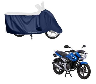 Picture of Sporty White Blue Two Wheeler Cover For Bajaj XCD 125
