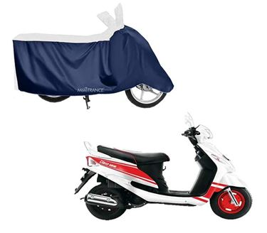 Picture of Sporty White Blue Two Wheeler Cover For Mahindra Rodeo UZO