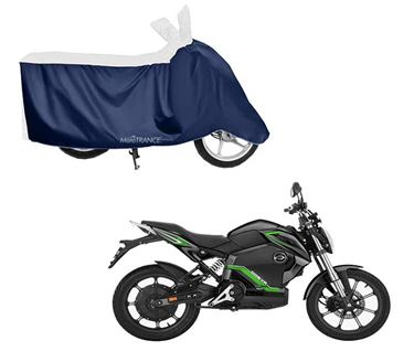 Picture of Sporty White Blue Two Wheeler Cover For Revolt RV 300 2019