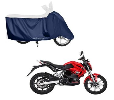 Picture of Sporty White Blue Two Wheeler Cover For Revolt RV 400 2019