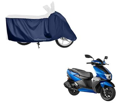 Picture of Sporty White Blue Two Wheeler Cover For TVS Ntorq 125