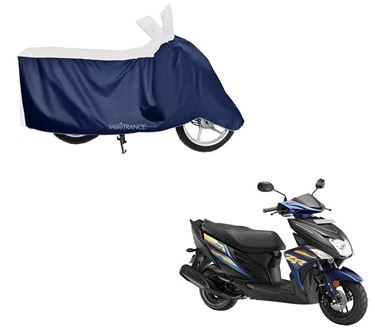 Picture of Sporty White Blue Two Wheeler Cover For Yamaha Cygnus Ray ZR
