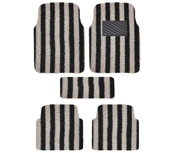 Picture of Universal Anti Skid Curly Car Foot Mats (Black Grey Arc Stripe)