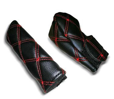 Picture of PU Leather Gear Shift Knob and Handbrake Cover Set - Black-Red