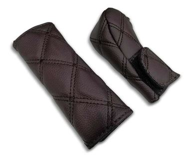 Picture of PU Leather Gear Shift Knob and Handbrake Cover Set - Coffee