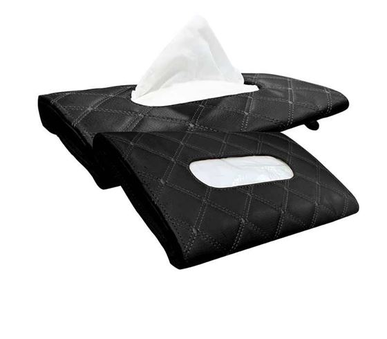Picture of 7D Car Sun Visor Tissue Holder Box with Free Tissues (Set of 2) - Black