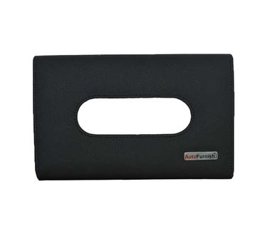 Picture of PU Leather Tissue Box Cover Holder with Single Layer Strap for Car Headrest/Armrest/Visor - Black