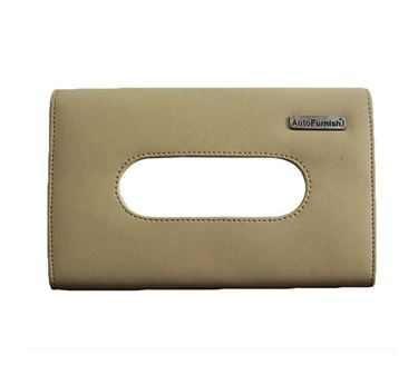 Picture of PU Leather Tissue Box Cover Holder with Single Layer Strap for Car Headrest/Armrest/Visor - Beige