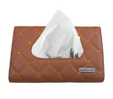 Picture of 7D Car Sun Visor Tissue Holder Box with Free Tissues - Tan