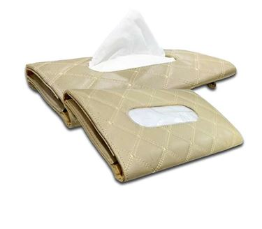 Picture of 7D Car Sun Visor Tissue Holder Box with Free Tissues (Set of 2) - Beige