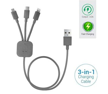 Picture of Portronics POR-013 Konnect-Trio 3-in-1 Multi-Functional Cable (Grey)
