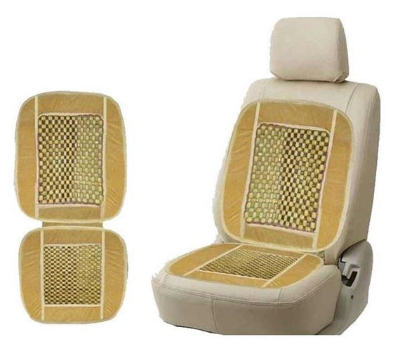 Picture of Car Wooden Bead Seat Cushion with Velvet Border - Beige