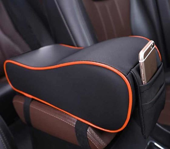 Picture of Premium Car PU Leather Memory Foam Center Console Armrest with Pocket (Black Red)
