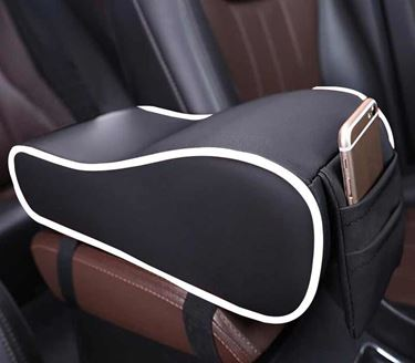 Picture of Premium Car PU Leather Memory Foam Center Console Armrest with Pocket (Black White)