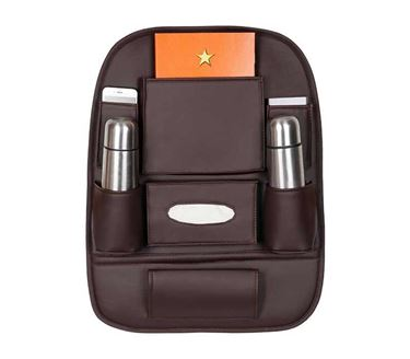 Picture of 3D Car Auto Seat Back Multi Pocket Storage Bag Organizer Holder Hanger Accessory - Coffee